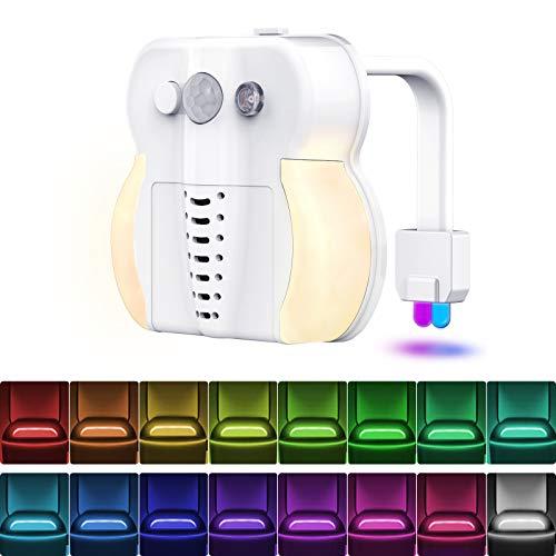 Toilet Night Light, 16 Colors LED Toilet Bowl Light Motion Sensor with 2 Pack Aromatherapy Tablets LED Night Light, Internal Memory, Light Detection, Color Changing Toilet Light for Bathroom