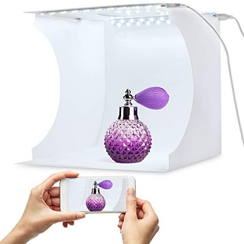 Equipo fotográfico portátil de Photo Booster de Mini Cabina de fotografía portátil Caja de luz de fotografía Plegable con Brillo 40 Cubo Tira de LED 6 Colores de Fondo (20x20cm)