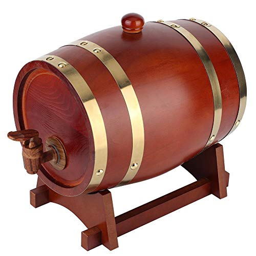 BYARSS Botte per Vino in Legno, Botte per Vino in Legno di Pino Vintage Barilotto per Vino Accessori per Birra Attrezzatura per Birra Fatta in casa 3L(Marrone Scuro)