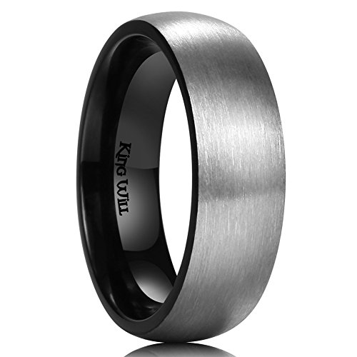 King Will BASIC 7mm Titanium Ring Brushed Black Plated Comfort Fit Wedding Band For Men (9.5)