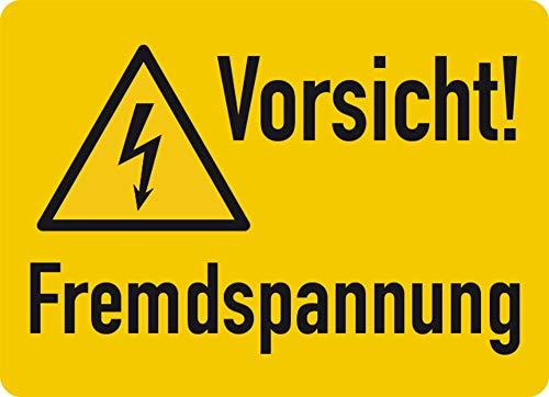 Aufkleber Vorsicht! Fremdspannung Folie selbstklebend 37 x 52 mm (Achtung Strom, Hochspannung, Warnschild) wetterfest