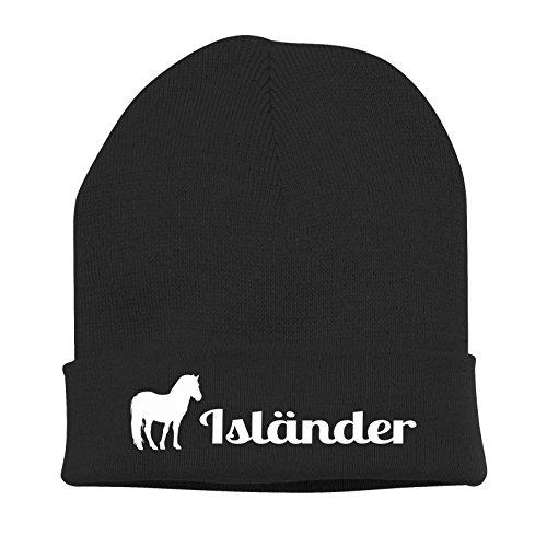 Siviwonder Strickmütze Pferde - ISLÄNDER Freizeit und Trekkingpferd - Stickerei Pferd Winter Mütze Wintermütze Beanie Mütze schwarz-weiß