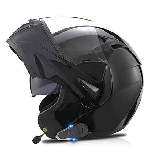 Cascos Modulares Pinlock,Cascos Modulares De Moto con Bluetooth con Doble Visera para Motocicleta Scooter-ECE Homologado A Prueba De Viento para Adultos Hombres Mujeres 55-62CM