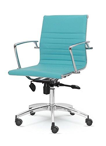 Winport Furniture Mid-Back Leather Office Desk Chair No aplicable, Piel sintética, Turquesa