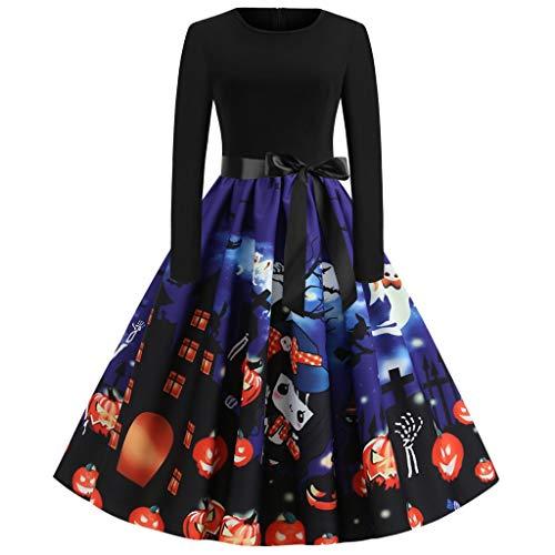 EUCoo - Vestido de noche para mujer, estilo vintage de 1950, con estampado navideo, de manga larga con cinturn, vestido de cctel azul XXL