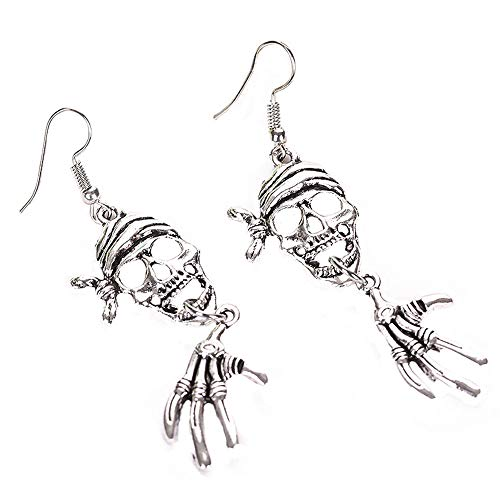Pendientes colgantes para mujer, estilo punk, Halloween, esqueleto de calavera, cruz, oreja, oreja, cadena para mujer, unisex.