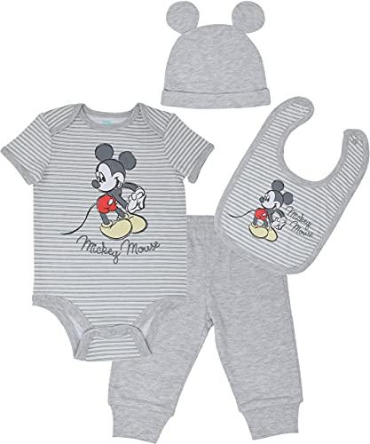 Disney Mickey Mouse Baby Boys Layette Set Bodysuit Pants Hat Bib 3-6 Months