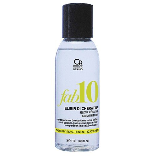 Fab10 - Elisir di Cheratina - Trattamento Professionale 10 Benefici con Fitocheratina - Ristrutturazione Capelli Danneggiati - Idratante, Illuminante e Nutriente - 50 ml