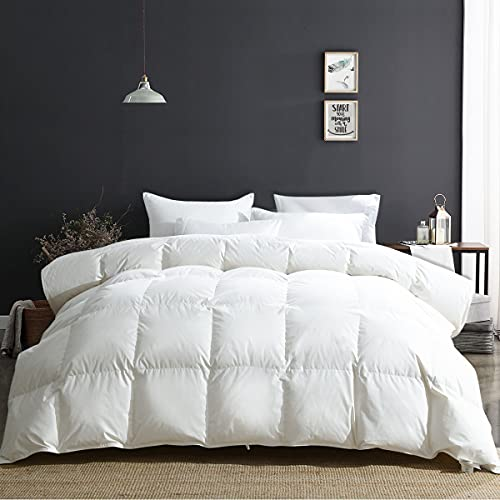 APSMILE Luxury Heavyweight Goose Down Comforter for Winter Colder Climates / Sleeper- 100% Organic Cotton, 650FP Fluffy Thicker Duvet Inserts (Ivory White, King)