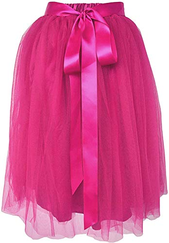Dancina Women's Knee Length Tutu A Line Layered Tulle Skirt Plus (Size 12-22) Hotpink