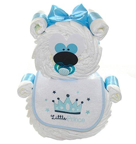 Windeltorte Windelbär blau - optional mit Schnullerkette und Namen - Geschenk zur Geburt (ohne Schnullerkette)