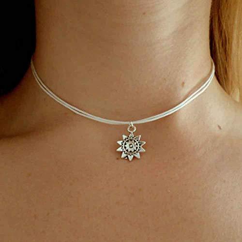 Jovono Collar bohemio con colgante de sol, cadena de joyería para mujeres y niñas (plata)