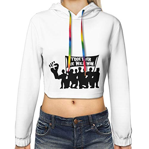 Together We Fight Coro-nav-irus Colored Print Women's Casual Long Sleeve Pullover Hoodies Crop Tops Sweatshirt Casual XL