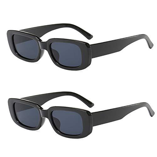 Grainas Retro Rechteckige Sonnenbrille für Damen Herren Unisex Vintage Schmale Brille UV400-Schutz Sunglasses (Schwarz + Schwarz)