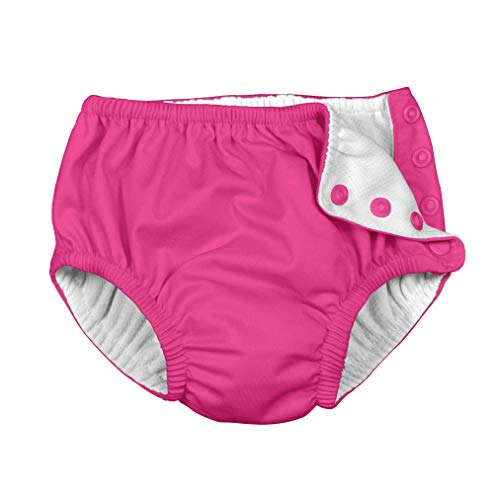 i play. by green sprouts Baby Snap Reusable Swim Diaper, Hot Pink, 6 Months