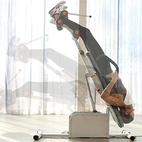SKYWPOJU Heavy Duty Inversion Table Foldable Inversion Machine, Adjustable Height with Comfort Backrest, Height up to 185cm, Max 150kg, Exercise Equipment for Back Pain Relief