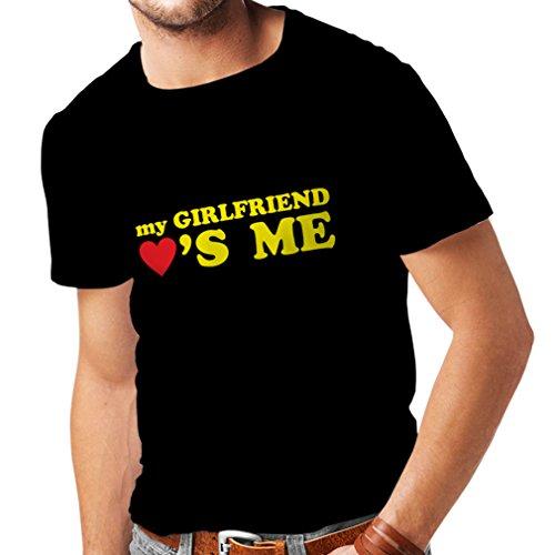 Camisetas Hombre Mi Novia me ama Regalos Novio para San Valentín (Small Negro Amarillo)