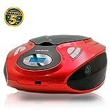 Lauson MX12 Radio FM con Sintonizador Pantalla LCD y Reproductor de CD Portátil con Lector USB para Reproducir Música MP3 | CD Player con Salida de Auriculares 3.5mm y Altavoces Incorporados (Rojo)