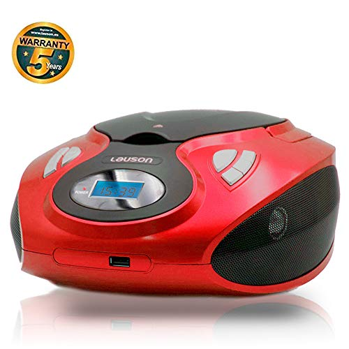 Lauson MX12 Lettore Cd Portatile | USB | Bambini Radio | Stereo Radio FM | Boombox | CD/MP3 Player | LCD-Display (Rosso)