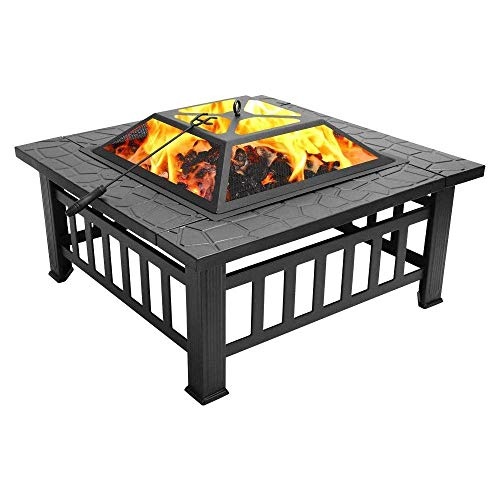 NBVCX Home Decorative 32 Inch Heavy Duty 3 in 1 Metal Square Patio Firepit Table BBQ Garden Oven with Spark Screen Cover Wood Grate and Poker for Wood Burning and Beverage Cooling Outdoors