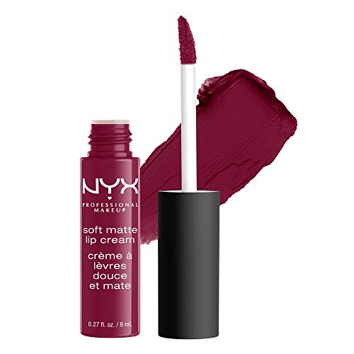 NYX PROFESSIONAL MAKEUP Soft Matte Lip Cream, High-Pigmented Cream Lipstick - Copenhagen, Matte Rich Plum