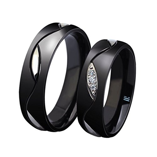 Wang Rong ROWAG Novelty Mens Black Titanium Stainless Steel Couple Rings for Him and Her Womens Rhinestone CZ Inlay Valentines Day Wedding Promise Engagement Bands