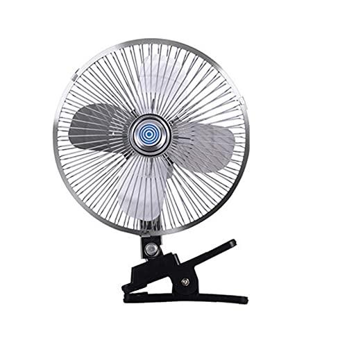 Hearthxy Ventilador para coche, encendedor de cigarrillos, 12 V/24 V, ventilador de mesa con clip, rotación de 180 grados, 2 velocidades, para coche, todoterreno, furgoneta