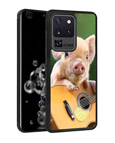 Galaxy S20 Ultra 5G Case, Slim Anti-Scratch Rubber Protective Cover for Samsung Galaxy S20 Ultra 5G (2020) 6.9 inch - Cute Pig Playing Guitar