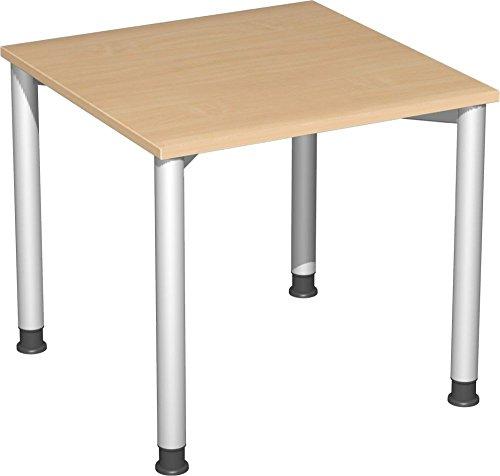 Preisvergleich Produktbild Gera Möbel 4 Fuß Flex Schreibtisch,  Holzdekor,  buche / Silber,  80 x 80 x 72 cm