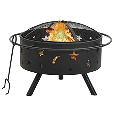 vidaXL Fire Pit with Poker Fire Bowl Patio Heater Fireplace Home Outdoor Garden Furnace Decoration with Mesh Cover 76 cm XXL Steel from vidaXL