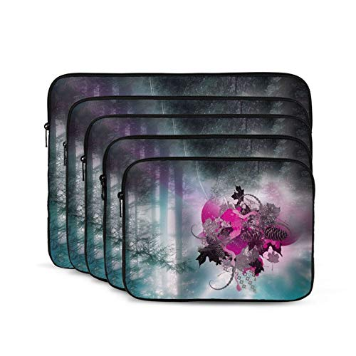 Heart Leaves Grass Laptop Sleeve 15 inch, Shock Resistant Notebook Briefcase, Computer Protective Bag, Tablet Carrying Case for MacBook Pro/MacBook Air/Asus/Dell/Lenovo/Hp/Samsung/Sony