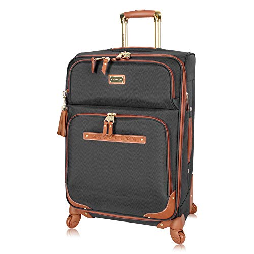 Steve Madden Designer Luggage Collection - Expandable 28 Inch Softside Bag for Men & Women - Durable Lightweight Checked Suitcase with 4-Rolling Spinner Wheels (28in, Global Black)