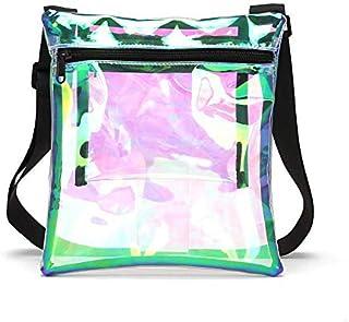 Haya Holographic Clear Shoulder Bag, NFL & PGA Stadium Approved Clear Crossbody Purse Bag Clear Stadium Bag with Adjustable Shoulder Strap & Extra Inside Pocket for Sports, Concerts,