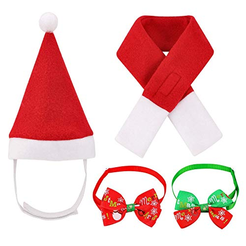 Oumers Pet Christmas Costumes, 4pcs Christmas Pet Hat Scarf Collar Bow Tie for Cats and Small Dogs Cosplay Christmas Costumes New Year Dressing up Party Fancy Dress Clothes
