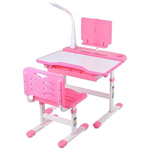 Escritorio para estudiantes, mesa de escritorio para niños y deberes, mesa de escritorio y silla ergonómicamente ajustable