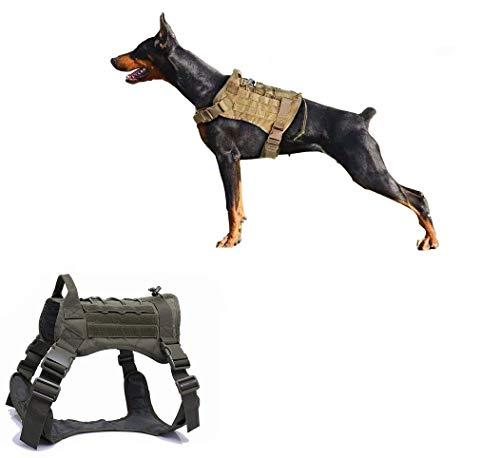 Ducomi Arnés Táctico Militar para Perro K9, Perros de Entrenamiento y de Trabajo - Arnés Chaleco para Perros Medianos, Grandes, Pastor Alemán, Pitbull, Rottweiler (Olive, XL)