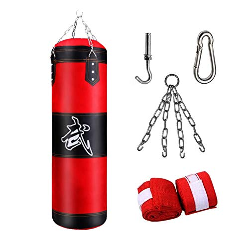 Anxicer Boxsack Hängende Punchingsäcke,(Ungefüllte) mit Montagekette für Boxtraining Sandsack Kampfsport,MMA Training Fitness Dekompression Sandsäcke Kick Kampftraining,Passend für Kinder Erwachsene