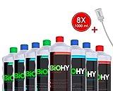 BIOHY Profi Reinigungsmittel-Komplett-Set mit Dosierer (8 x 1 L) | Bad-, Fenster- und Bodenreiniger | Ökologisch und veganes Reinigungsmittel für nachhaltige Reinigungen
