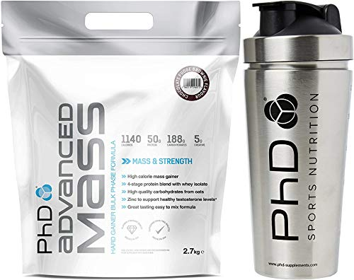 PhD Nutrition Advanced Mass Chocolate Brownie Flavour - 2.7kg + PhD Nutrition Stainless Steel Silver Shaker (739ml)