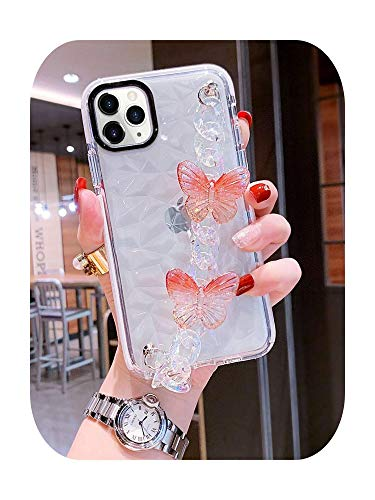 Diamond texture 3D Laser butterfly Wrist bracelet Phone Case for iPhone 11 12 Pro 7 8 plus XS Max XR Clear Cover funda-2-for iphone 7 plus