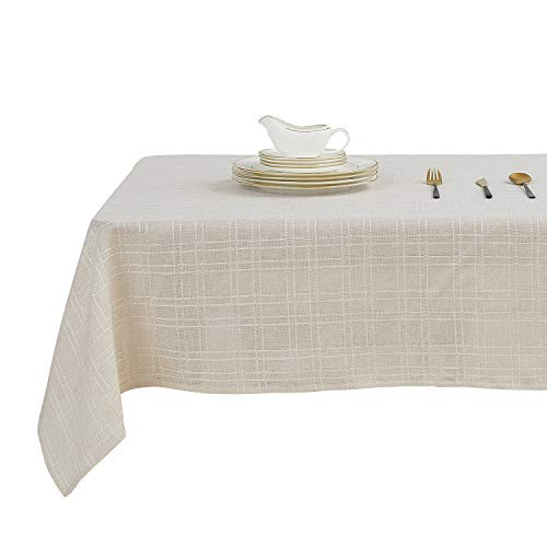 Deconovo Checkered Faux Linen Tablecloth Wrinkle Resistant Waterproof Tablecloths for Dining Room Squar 54 x 54 inch Beige