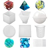 Silicone Resin Molds 5Pcs Resin Casting Molds Including Sphere, Cube, Pyramid, Square, Rou...