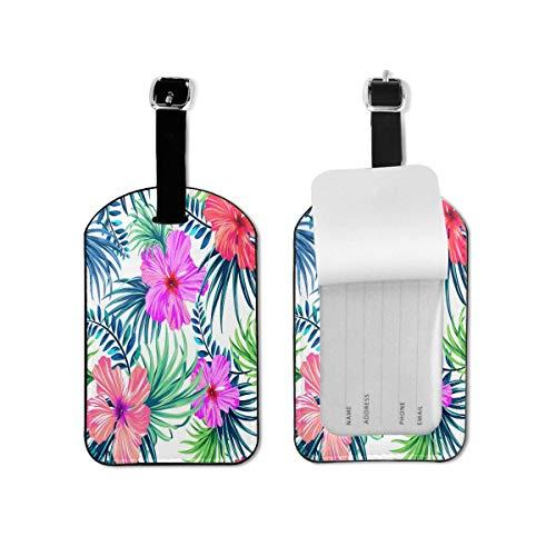 Acuarela patrón equipaje etiqueta tropical Hawaii flores viaje identificación etiqueta cuero para equipaje maleta para mujeres y hombres 1 pieza