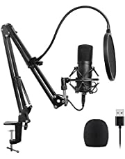 ADDFOO Usb Microfoon Kit Usb Computer Cardioïde Mic Podcast Condenser Microfoon met Professionele Sound Chipset voor Pc Karaoke, Youtube, Gaming Recording