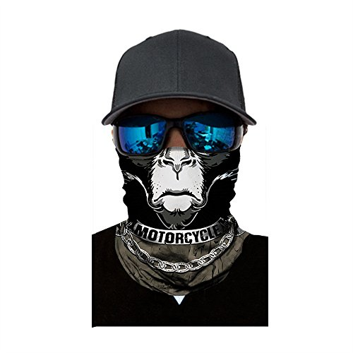 IHEHUA Multifunktionstuch Damen & Herren - Wind Face Shield - Atmungsaktiv & Schnelltrocknend - Motorrad Gesicht Mundschutz Lustig Skull Maske Chopper Mund-Tuch Halsschlauch Halstuch mit Motiv (G-4)