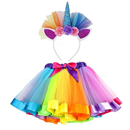 vamei Disfraz de Unicornio para Nias Diadema Unicornio Floral con Oreja y Falda Tut de Arco Iris Disfraz para Fiesta Prpura(Azul)