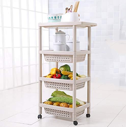 Carro de almacenamiento con 4 niveles deslizables para cocina, organizador de almacenamiento de pared, mueble de torre de baño con ruedas (color: B)