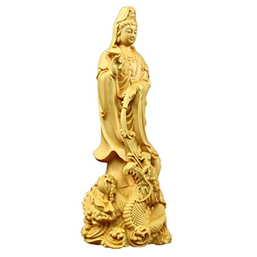 IMIKEYA Chinese Feng Shui Sculpture Quan Yin Statue Chinese Buddha Statue Wood Guanyin Figurine for Home Gifts Health Good Luck