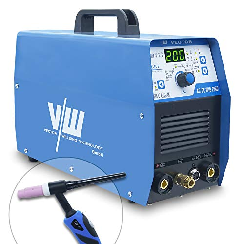 AC DC WIG Schweißgerät 200 Amp - Elektroden Schweissgerät mit 180 Ampere | HF-Zündung - 2 und 4 Takt - Einstellbare Wig Schweißparameter - Strom An & Abstieg - ACDC WIG 200 - von Vector Welding