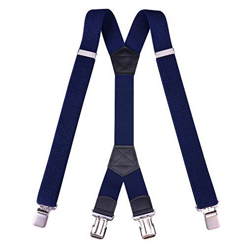 Tirantes para hombre con clips de metal rectos de 5 cm/4 cm de ancho x y correas ajustables en la parte trasera, Azul oscuro-1.6', Large
